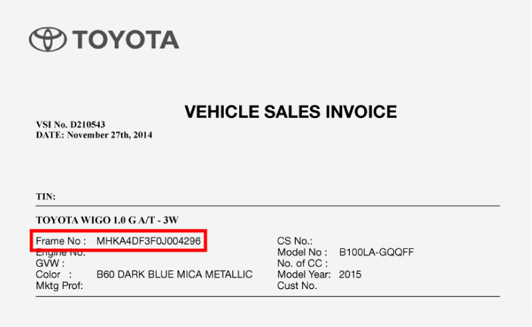 Vehicle Sales Invoice